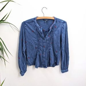 Lucky Brand Blue Embroidered Button Up Top